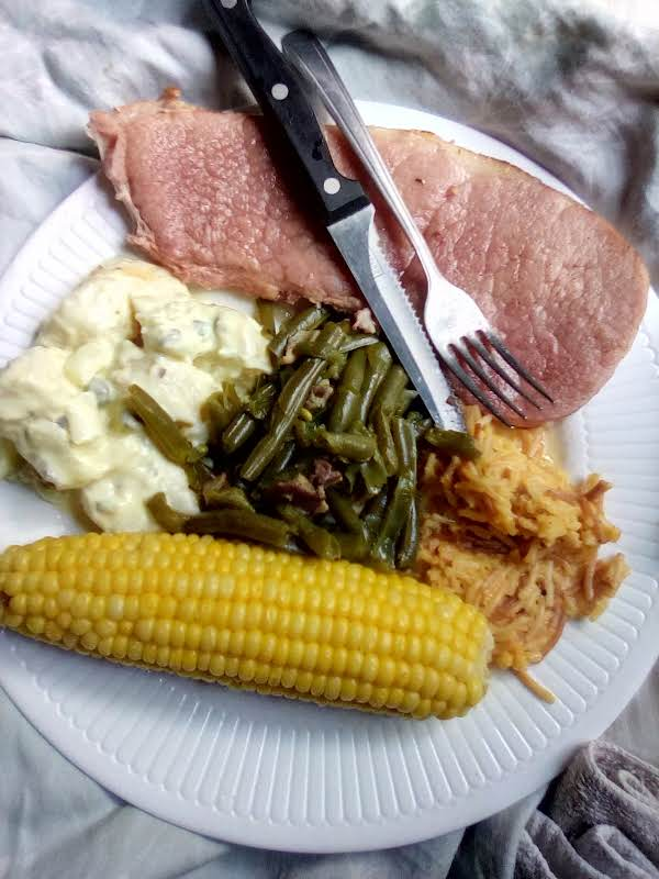 Potato Salad . Country Ham ..rice. Corn On The Cob. Green Beans