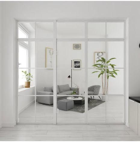 Industrivägg Dörr + 2 väggar + ovanliggare vit