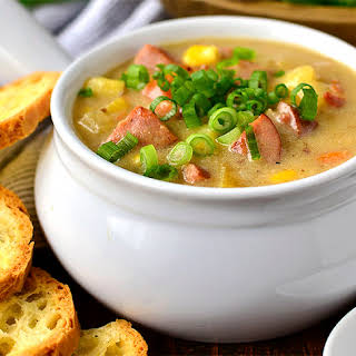 Sweet Corn, Kielbasa and Potato Soup.