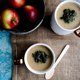 Creamy Celeriac & Apple Soup // Spicy Winter Greens Oil