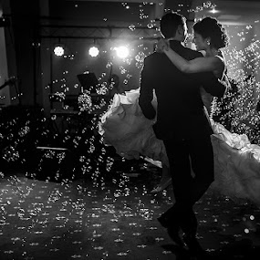 by Petrica Tanase - Wedding Reception ( first dance, black and white, bride and groom, bride, dance )