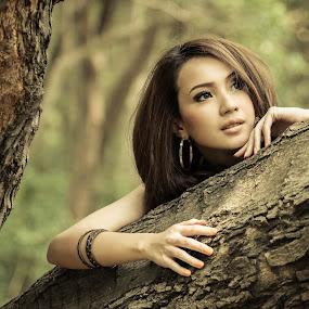 Hide & Seek by Putu Anggara - People Portraits of Women ( pantai indah kapuk, wood, winny valensia franoka, beauty, mangrove )