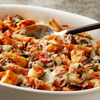 Healthy Three Cheese Chicken Pasta Bake.