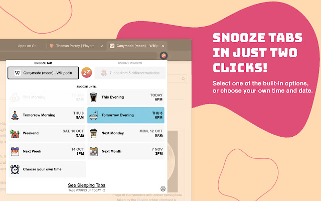 Snoozz - Snooze Tabs & Windows for later