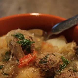 One Pot Meatball Sauerkraut Soup.