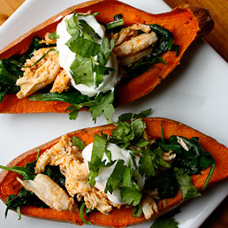 Sweet Potato Skins with Chicken and Spinach