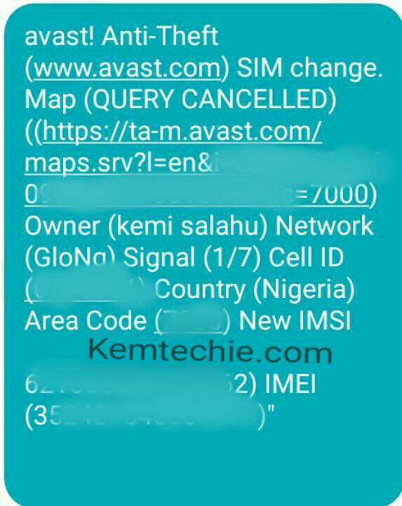 Avast anti theft sms