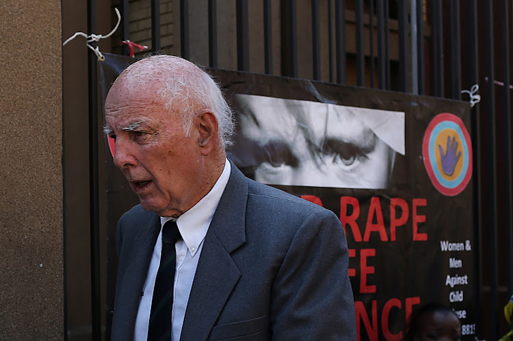 Convicted rapist Bob Hewitt leaves the High Court in Pretoria after being sentenced to a six-year jail term, on May 18 2015. Picture: ALON SKUY