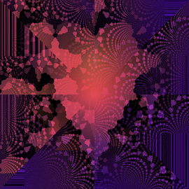 Lacy Fractal Heart by Tina Dare - Illustration Abstract & Patterns ( digital, pink, pattern, peach, abstract, pantone, heart, digital art, coral, design, fractal, lacy, purple, lines )