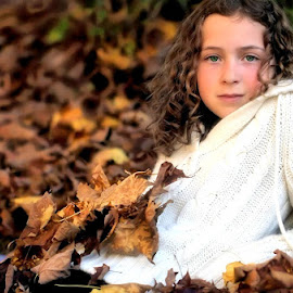 Fall girl by Sandy Considine - Babies & Children Child Portraits ( fall colors, young girl, fallen leaves )