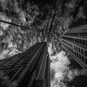 Gotham by Dian Anugrah - Buildings & Architecture Office Buildings & Hotels ( building, black and white, cloud, city )