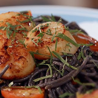 Squid Ink Pasta With Tomato Spring Onion