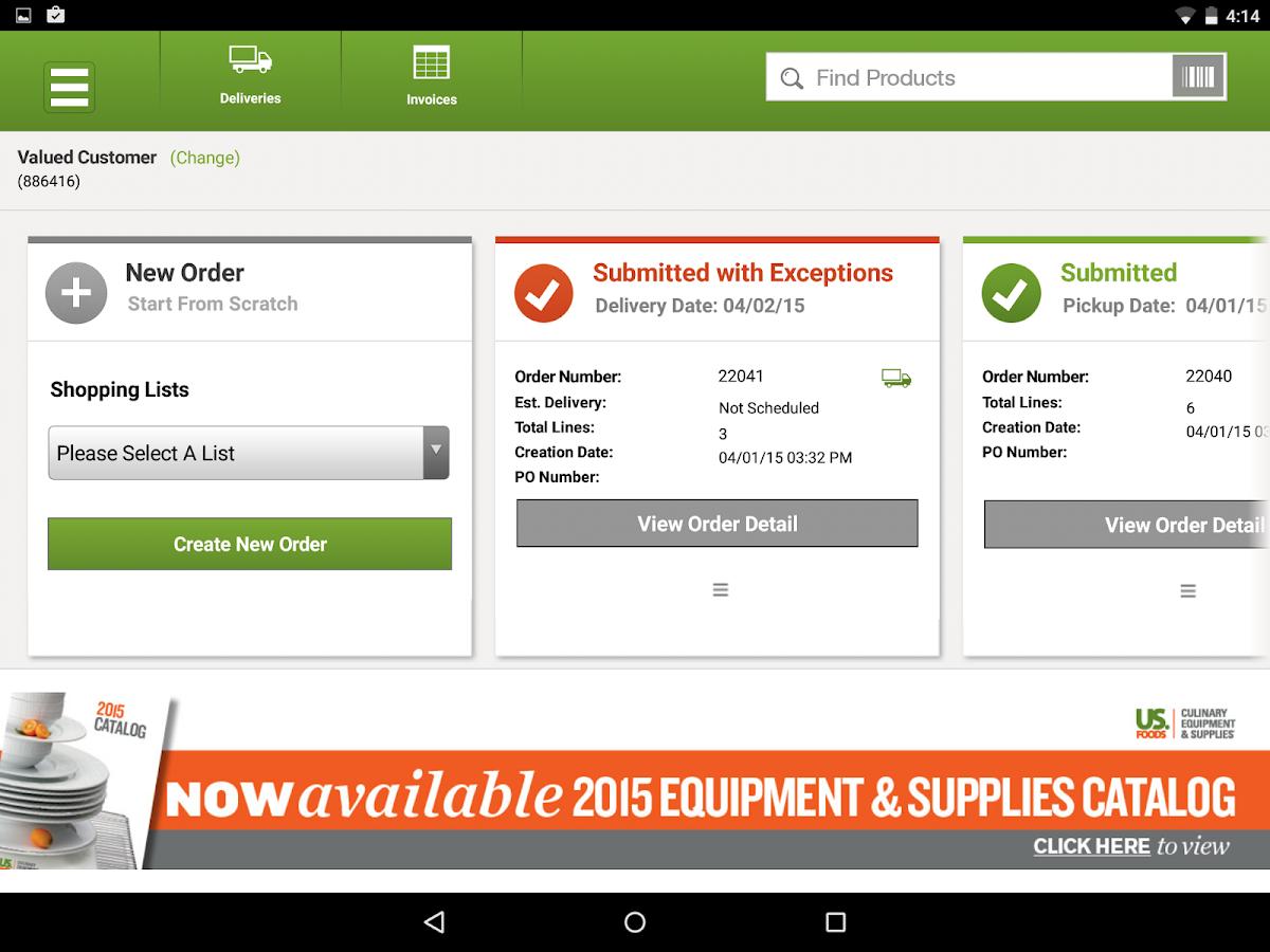 Usfoods Com Login Order - Usfoods for tablet screenshot
