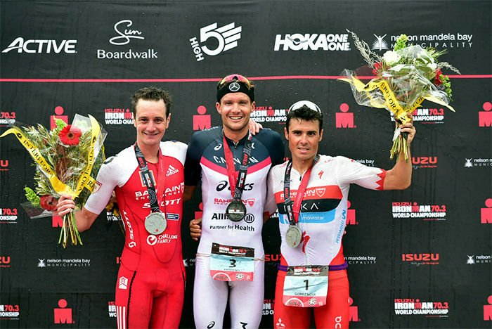 2 September 2018 - From left, Alistair Brownlee (2nd), Jan Frodeno (1st) and Javier Gomez Noya (3rd)