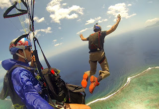 Photo: My first base jump from a paraglider. What a great feeling!  Photos by: John Stapels, Thomas de Dorlodot, Horacio Llorens.