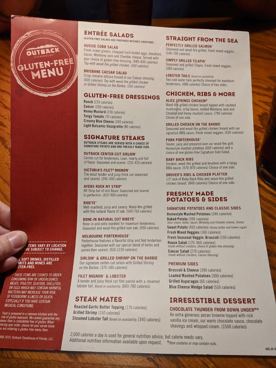 Gluten Free Menu Photo From Outback Steakhouse
