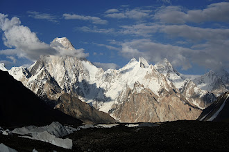 Photo: Gasherbrum IV in the late afternoon from Goro camp on the Baltoro.