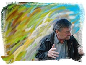 """Photo: Dailininkas Vytautas Tribandis (1942-2009), """"Dailininko mintys"""",aut. grafikas Rimantas Buviydas."""