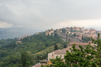 Photo: View  East from Piazza Rossi Scotti - shot of eastern town wall built in the 13th centure up the Borgo San Antonio hill to accommodate the expanding Perugia.  The 13th century walls are only about a third as thick as the older Etruscan walls surrounding the inner city.