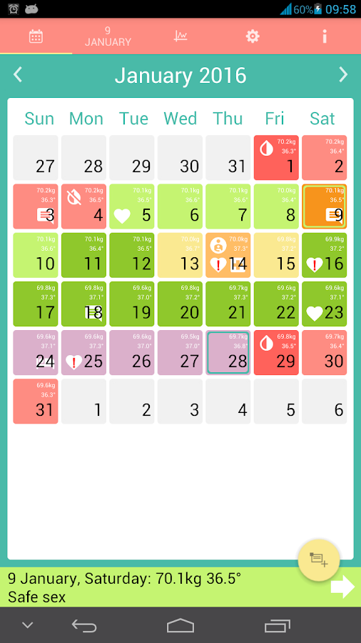 Woman calendar- screenshot