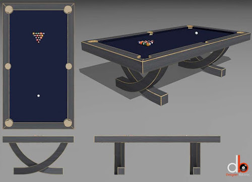 a 3D drawing of a billiard table designed with arch legs - ARC