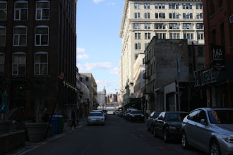 Photo: Looking down one of the DUMBO streets with the Empire State Building off on the other side a ways.