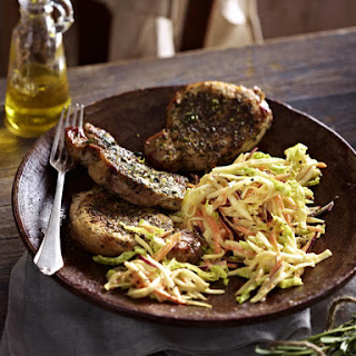 Herb-Crusted Pork Chops with Winter Slaw.