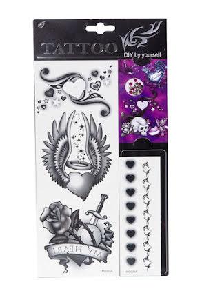 Tatuering svart/vit hjärta