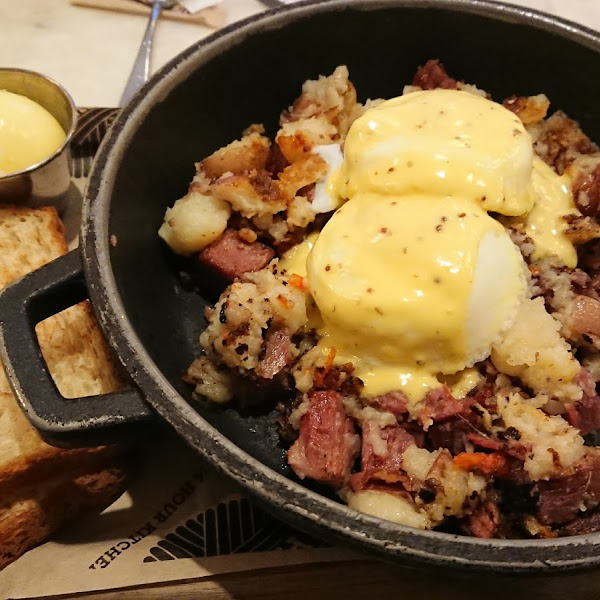 Corned beef hash with gluten free toast