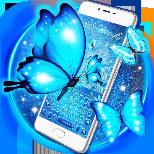 Blue glitter neon Butterfly keyboard