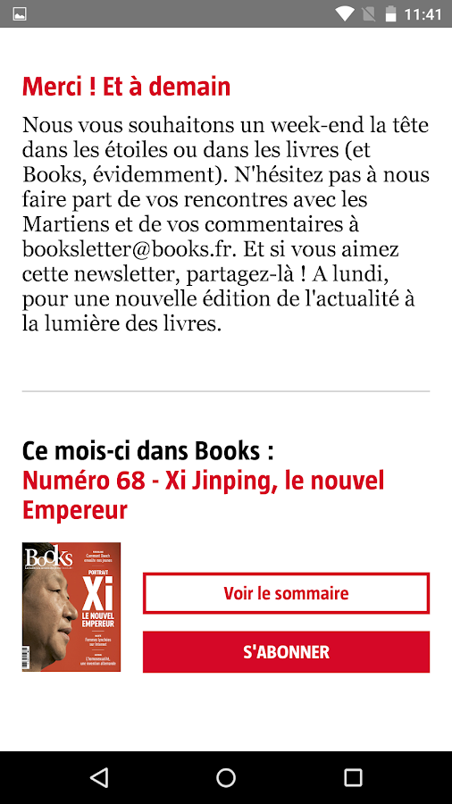 Booksletter – Capture d'écran