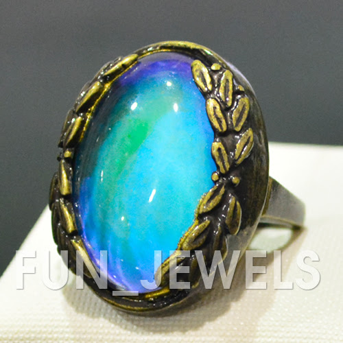 gorgeous statement mood ring antique bronze multi colored