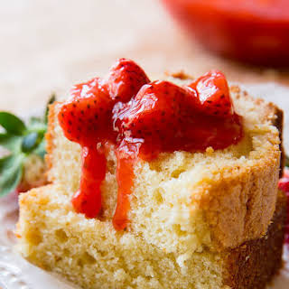 Brown Butter Pound Cake with Strawberry Compote.