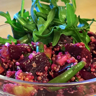 Roasted Beet Salad With Sprouted Quinoa And Basil.