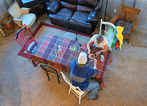 Photo: Randy & Joanie enjoy a bowl of yak chili in the converted barn.