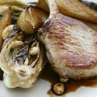 Pork Cutlets with Radicchio, Pear and Almonds.