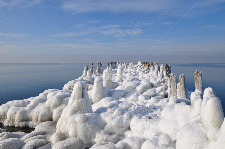Winter road to the sea by Albina Jasinskaite - Landscapes Weather ( water, winter, ice, snow, sea, the road, pwcpaths,  )