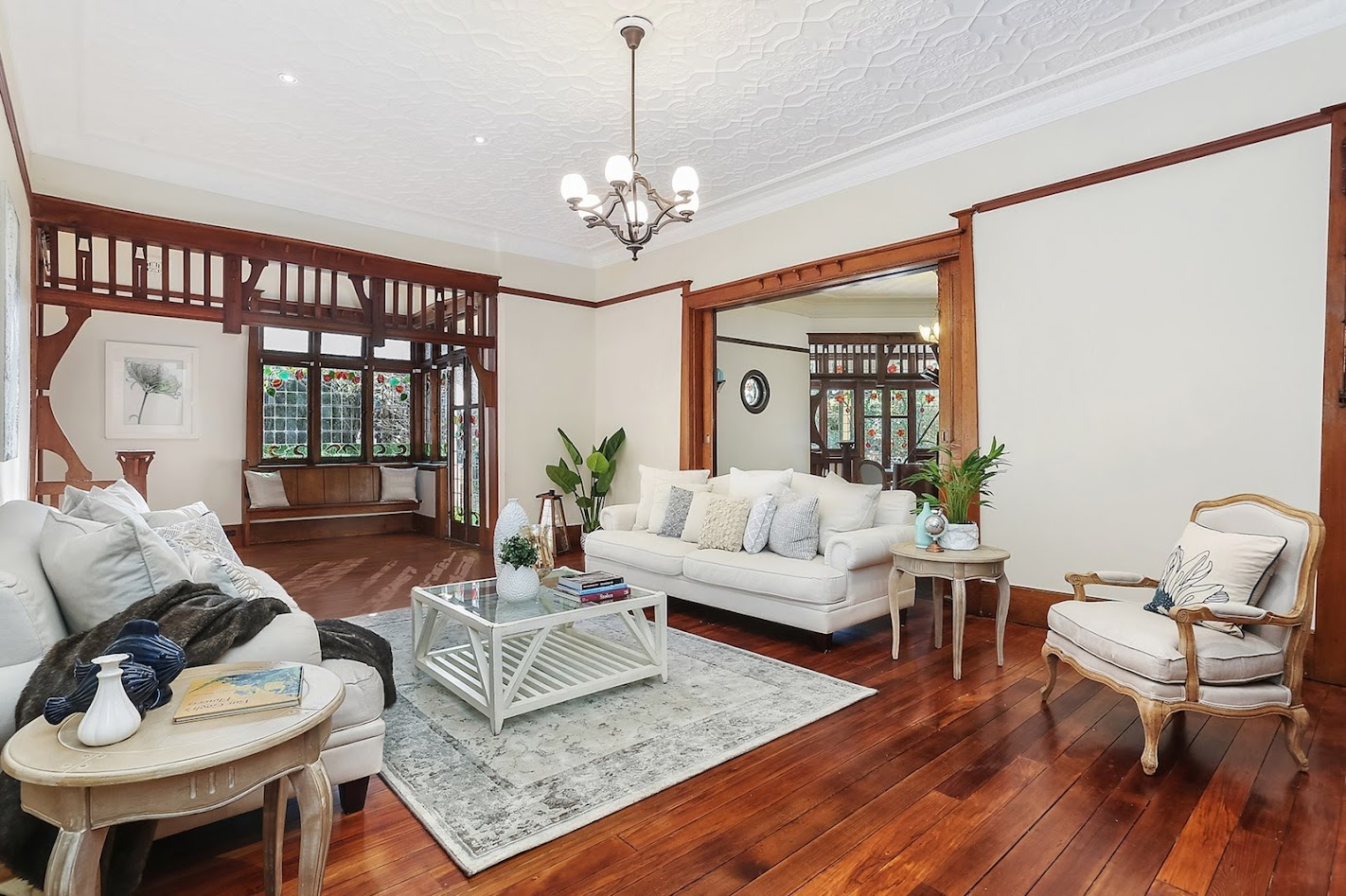 Ornate timber work and leadlight at Blairgowrie, 32 Abuklea Road, Epping NSW 2121