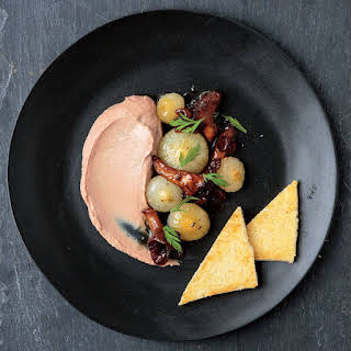 Duck Liver Mousse with Cipolline Onions and Mushrooms.
