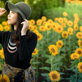 by Faizar Ridwan Rahman - People Portraits of Women ( cool, calm, model, fashion, warm, sunflowers, green, indonesian girl, beautiful, sunflower, nice, yellow, cute, photo, asian, asian girl, girl, woman, indonesia,  )