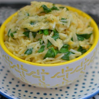 Cheesy Spinach Rice and Orzo