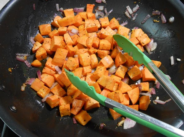 """Peel sweet potatoes and cube into 1"""" squares.  Dice onion.  Place both..."""
