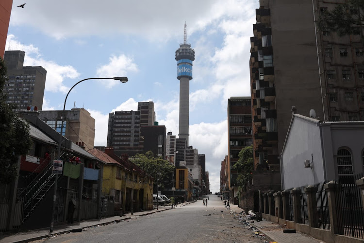 The empty streets of Hillbrow, Johannesburg, at the beginning of the nationwide lockdown.