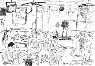 Photo: 假日的員工餐廳2011.01.23鋼筆 假日只打便當,沒人吃合菜,員餐的雜役們各個悠閒以對,中午這個時候大多躲到畫面看不到的地方午睡去了,餐廳看來冷冷淸淸…