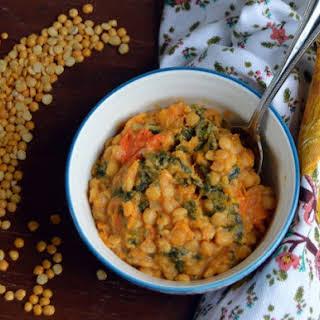 Cheesy Butternut Squash and Yellow Split Pea Stew.