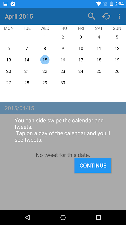 TwitCal your tweet calendar- screenshot