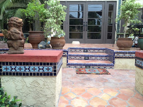 Photo: Malibu Tile Works - Stair Risers - Pillars - Private Residence - Long Beach, CA