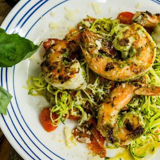 Zucchini Spaghetti with Pesto, Shrimp and Cherry Tomatoes Recipe