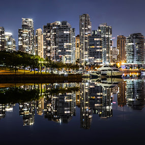 View From False Creek by Cory Bohnenkamp - City,  Street & Park  Night ( water, skyline, vista, reflections, night, city,  )