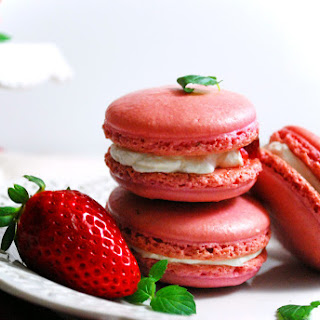 Strawberries and Cream French Macarons.